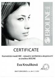 Certifikát masáž ABC Eva K.