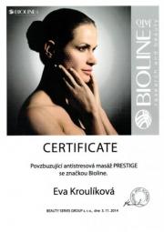 Certifikát masáž Prestige Eva K.