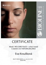 Certifikát Welcome touch
