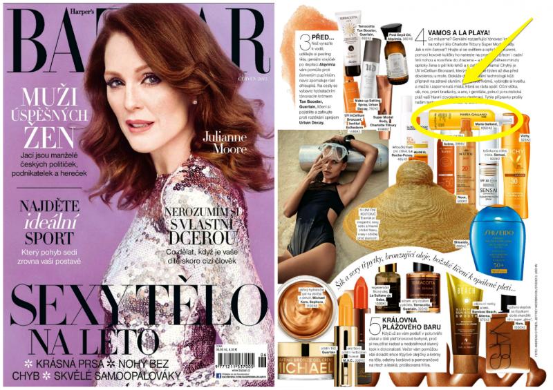 Opalovací krém v aktuálním Harper's Bazaar, k vyzkoušení u nás v salonu SlimFOX