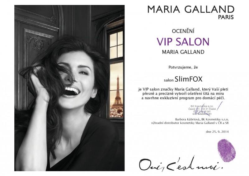 certifikat Maria Galland VIP salon SlimFOX